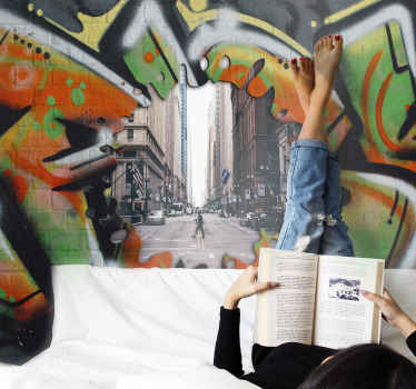 Now lets combine your own desired image with this urban graffiti style wall mural. The design depicts a broken graffiti wall with view of it behind.