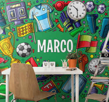 Bedroom modern wall mural for teenager's. The design comprise of different icons and features for football sport. It is original and durable.