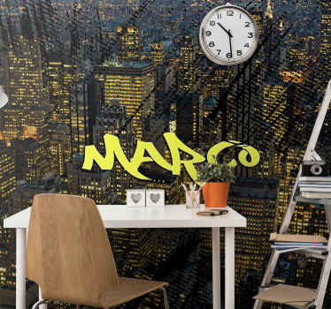 Customizable photo mural design of a large city. The product is original and really easy to apply. It is durable and easy to maintain.