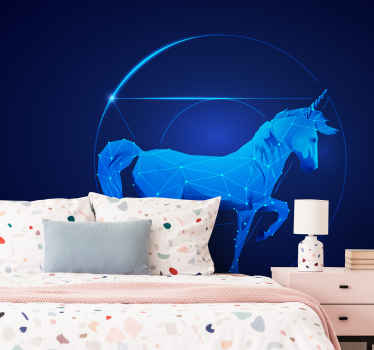 Holographic unicorn kids wall murals for children room.  Lovely design of a unicorn pattern created in holographic diffraction pattern.
