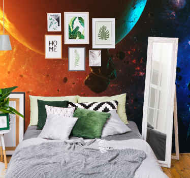 Realistic colorful galaxy scenery wall mural showing the globe with asteroids at night.. It is original, durable and easy to apply.