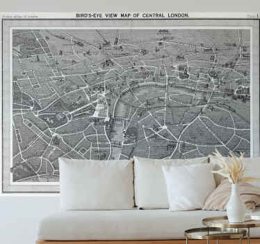 Antique London map sticker with illustration of it roads, bridges, houses, streets and social buildings and structures. It is easy to apply.