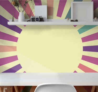 Decorative 70's geometric sun abstract wall murals to decorate a living room, bedroom or any space in your home. It is original and easy to apply.