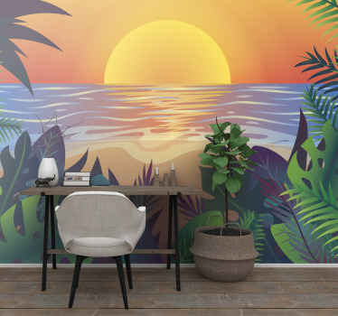 High quality retro sunset time beach photomural to decorate any space in your house you want. Delivery to your front door available!