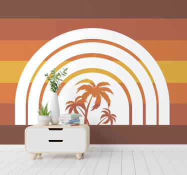 High quality retro palm trees and sunset photomural to decorate any space in your house you want. Delivery to your front door available!