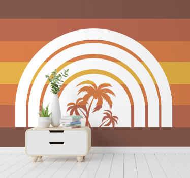 Hoge kwaliteit retro palmbomen en zonsondergang fotobehang om elke gewenste ruimte in uw huis te versieren. Levering aan uw voordeur mogelijk!
