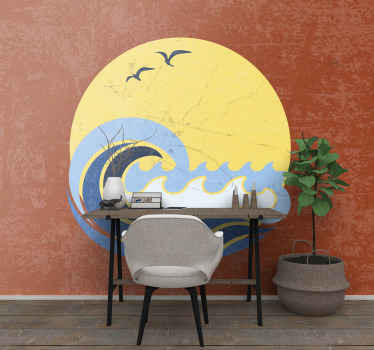 Sun Beach and wave photo mural in your room. With this iconic wallpaper you can decorate your living room, bedroom, hall, office and other rooms.