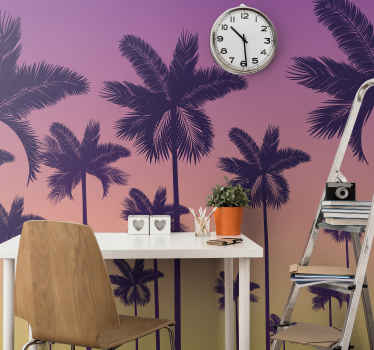 Add a touch of vintage to your home with our original sunset palms design wallpaper. The design consists of different palms with.