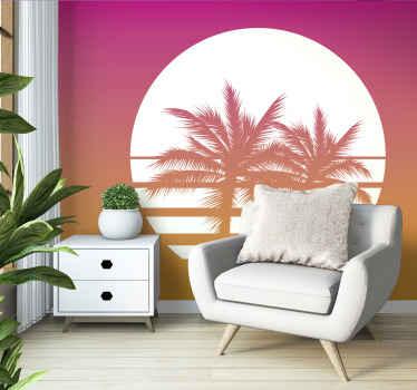 Fotomural vintage al atardecer con atardecer en tonos morados con palemas. Elija un tamaño adecuado y decore su pared ¡Envío gratuito!