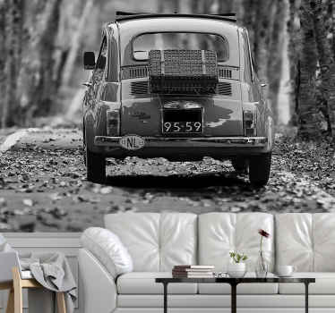 Stun your guests with this vintage car wall mural in black and white! Sign up online for 10% off your first order with us.