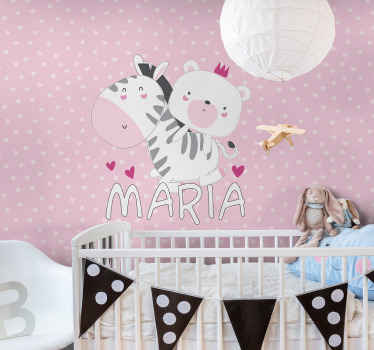 Surprise your children today with their very own name on this pretty zebra and bear wallmural for kids today! Order it today and receive it soon!