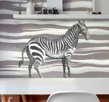 Incredible animal wall mural featuring a zebra with a zebra print background. Sign up today for 10% off your first order with us!