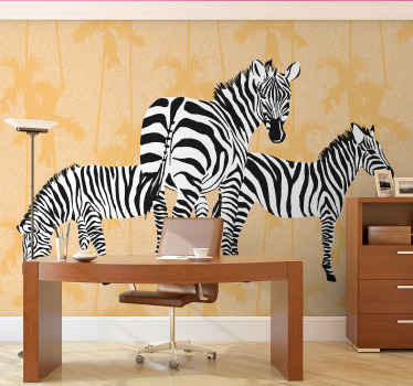 Change the look on your home or any space wall space with our high quality manufactured zebra animal with palms photo wall mural.