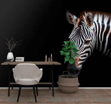 Fotomural com zebra. Feito de materiais de alta qualidade e fáceis de limpar e aplicar na parede. Verifique você mesmo! Vinil anti-bolha.