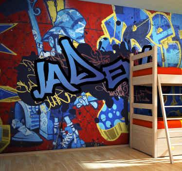 Graffiti personnalisé nom mural personnalisé mural. Illustrations de fond rouge, bleu et or avec texte personnalisé pour vous.