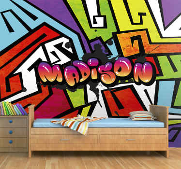 Graffiti wall mural which features your child's name in a colourful graffiti font surrounded by a cool, urban art background.