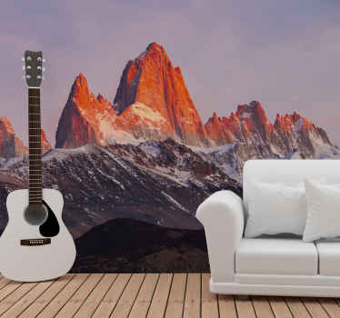 A fantastic scenery wall mural representing Patagonia's landscape. Mountains with partly ice effect and pretty atmosphere.