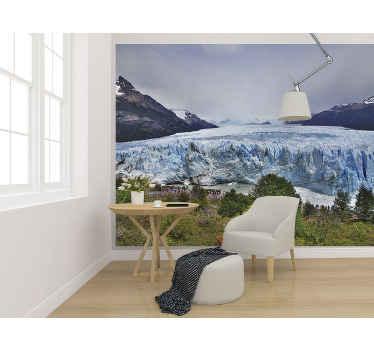 Dette landskab fotovægmaleri præsenterer dig landskabsudsigten over et ismark i patagonien. Fås i forskellige størrelser, nem at påføre og holdbar.