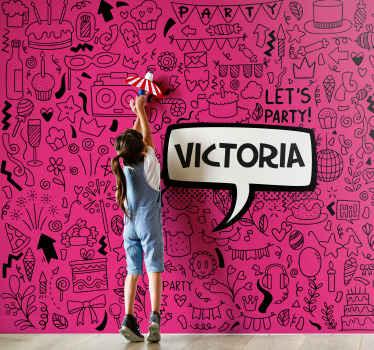 Foto de papel de parede adolescente com ilustração de rabiscos em fundo fúcsia e nome personalizável em preto, perfeita para decorar seu quarto.