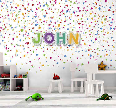 Colorful photo wall paper with colorful confetti illustration and customizable name written also in several colors. Sign up for 10% off.