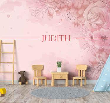 настраиваемые цветочные фотообои для дома. нестандартный текст с настраиваемым цветом посередине, розовым фоном и спиралью из цветов!