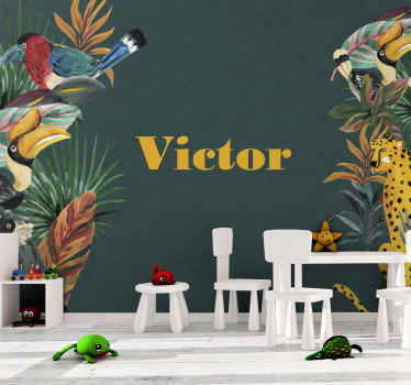 Wall mural with animals for kids bedroom. Design with animals and plan from the jungle at each side of the wall and a customisable name!