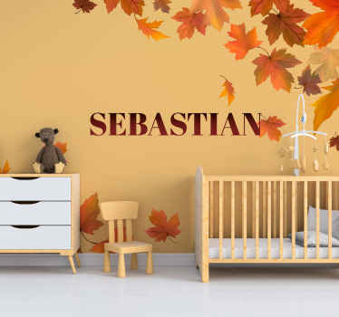Give your child an unique gift today with their very own name on this original and personalized autumn leaves wallsticker. Order it now!