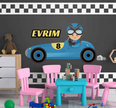 Personalised name car pattern custom murals. Vintage blue racing car on a track with customisable caption. You can get a bundle to install!