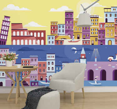 Italy wall mural which features an image of traditional Italian sites during the day and at night, all painted in various bright colours.