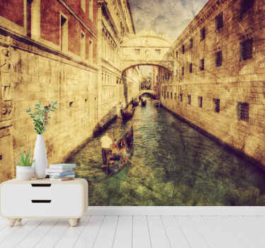 Italy wall mural which  features a stunning image of a canal with ancient buildings on either side of it. Extremely long-lasting material.