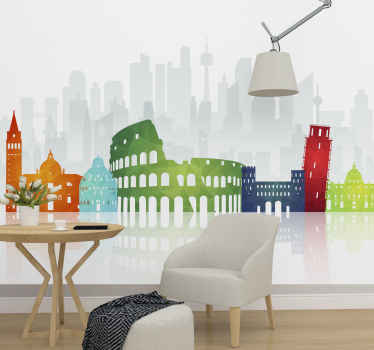 Italian wall mural which  features an image of famous ancient Italian sites such as the Coliseum and leaning tower of Pisa in bright colours.
