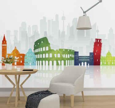 Kolezyum ve eğik pisa kulesi gibi ünlü antik İtalyan sitelerinin parlak renklerde bir görüntüsünü sunan İtalyan duvar resmi.