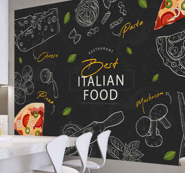 Kitchen wall mural which features the text 'Best Italian food' surrounded by images of traditional Italian food such as pizza, cheese and pasta.