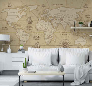 Retro worldmap sepia wall mural. Africa, both of the Americas, Europe, Oceania and Asia in an old style map with names and decorations!