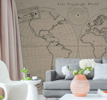 Vintage worldmap wall mural world map. Continues drawn by an outline with different details. The know continents at the time appear in spheres
