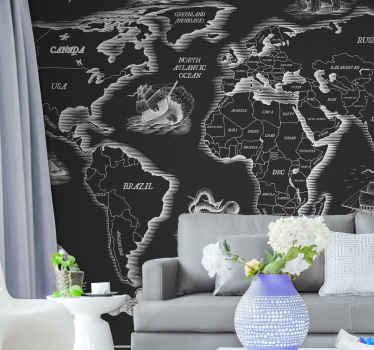 Black and white worldmap continents wall mural. Western side of the world. Africa, the Americas, Europe, and a part of the middle east