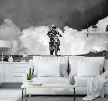 Murale de motocross noir et blanc fumée noire. Fond de fumée double couleur. Conception  avec pilote de motocross.Lavez ce sticker avec du savon.