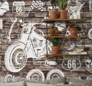 Cărămizi și motociclete cu fundal din lemn. Imagini cu motocicletă albă pe partea de sus a unui fundal de cărămidă de perete. Livrare expres!