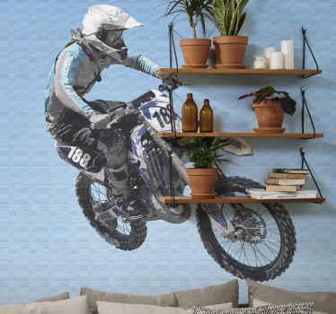 Extrem hoppande motocross tapeter motorcykel. Motorcykelförare som hoppar i en vinkel med sin motorcykel. Blå bakgrund. Få expressfrakt!