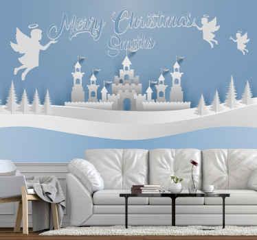 クリスマスの城、木々や天使の壁の壁画。デザインには7つの塔がある城があります。周りには木々や、カスタマイズ可能なテキストを保持する天使がいます。