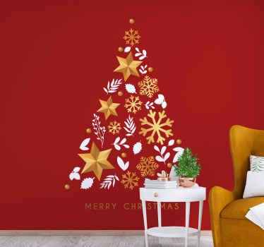 Merry Christmas gold tree wall mural for living room. Deconstructed tree made with decoration like stars, snowflakes and balls.
