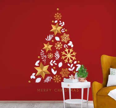 С Рождеством Христовым золотая елка настенная для гостиной. деконструированное дерево, украшенное звездами, снежинками и шарами.
