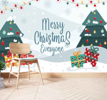 Merry Christmas everyone wall mural.  Design with text, Xmas trees, gift, snowfall and snowflakes, and Xmas lights at the top.