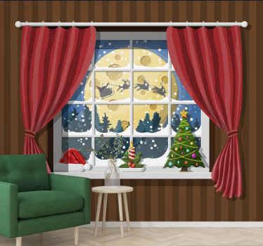 оглянуться сквозь снег рождественские фотообои. Обустроен миниатюрный домик: диван у окна и шторы. Вы можете увидеть сосны и летящего Санта Клауса.