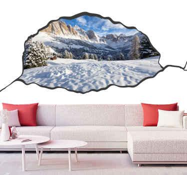 Фотообои на Рождество для гостиной. конструкция имитирует дыру в стене. с другой стороны - арктический пейзаж.