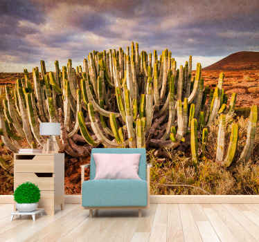 Desert aesthetic Desert Wall Mural for home. Dessert with long and skinny cactus, a light blue sky with clouds and a mount in the background!