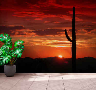 North American desert wall sticker for bedroom. Sunset on a desert. Cactus and mounts landscape. Ge it with immediate shipping!