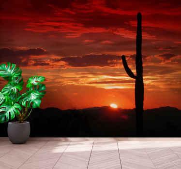 стикер стены североамериканской пустыни для спальни. закат в пустыне. кактус и горы пейзаж. Ge это с немедленной доставкой!