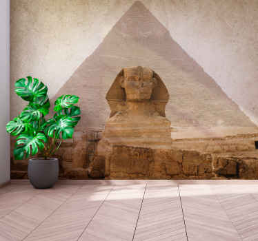 This wall mural with sphinx for house. The two icons of Giza, the great pyramid and sphinx! Get an installation kit fully equipped to work with ease!