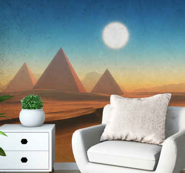 Egyptian pyramid with desert wall mural. Three pyramids and the blur of a fort in a night sight desert. Get a full installation kit!